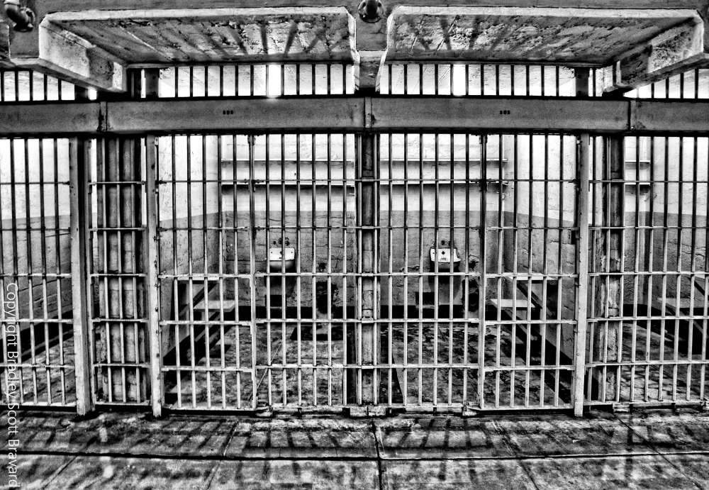 Cells inside Alcatraz in San Francisco, California