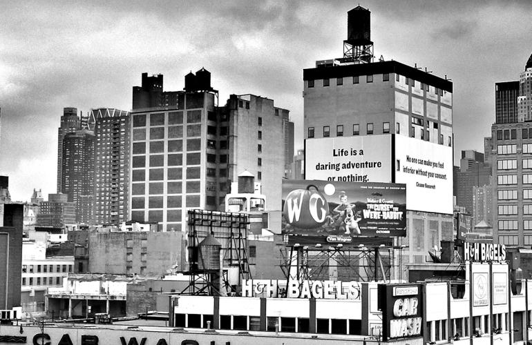 Black and white photograph of New York City street scene
