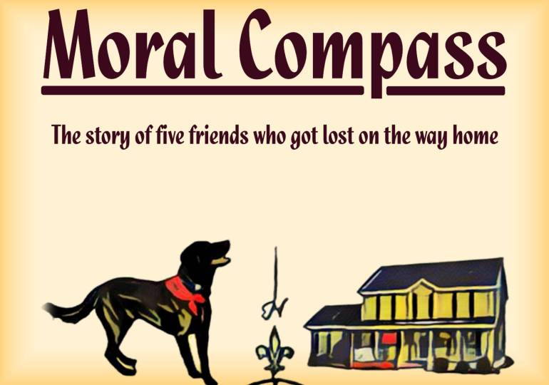 Section of Moral Compass novel cover by Bradley Bravard