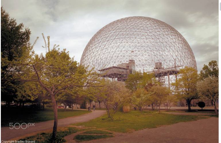 Photo of Biosphere in Montreal displaying 500px watermark