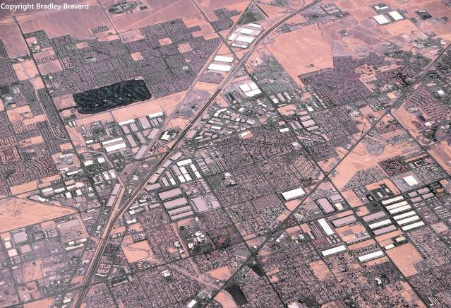 Aerial view of unidentified city in southwestern United States