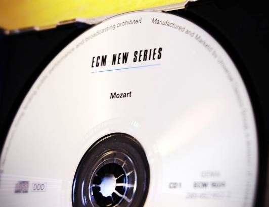 Photograph of compact disc of Mozart compositions