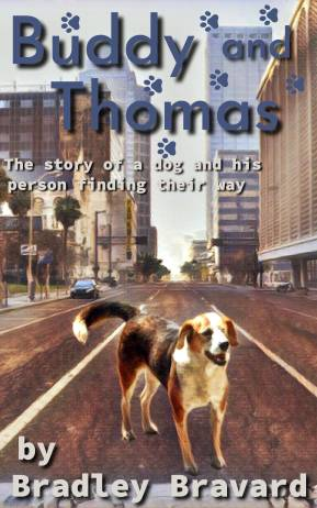Cover of Buddy and Thomas novella, with illustration of a beagle walking on a city street.