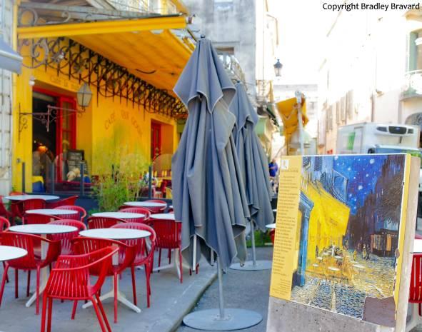 Van Gogh easel in Arles, France, in front of the Cafe Van Gogh
