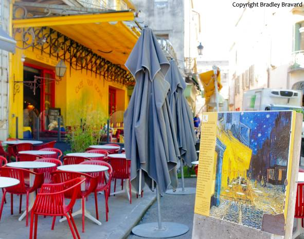 Van Gogh easel in Arles, France, in front of the Cafe Van Gogh