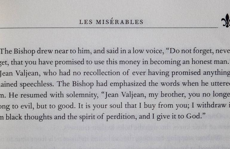 Photo of partial page from print edition of Les Miserables by Victor Hugo.