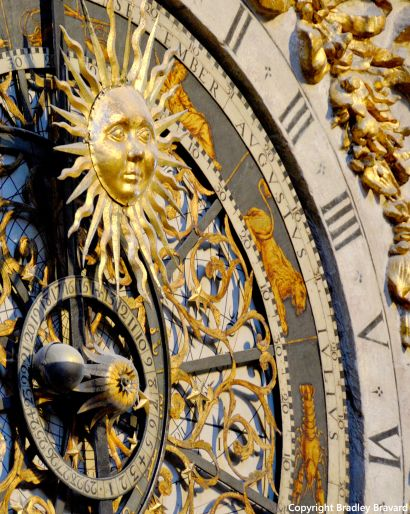 Detail of astronomical clock in Lyon, France