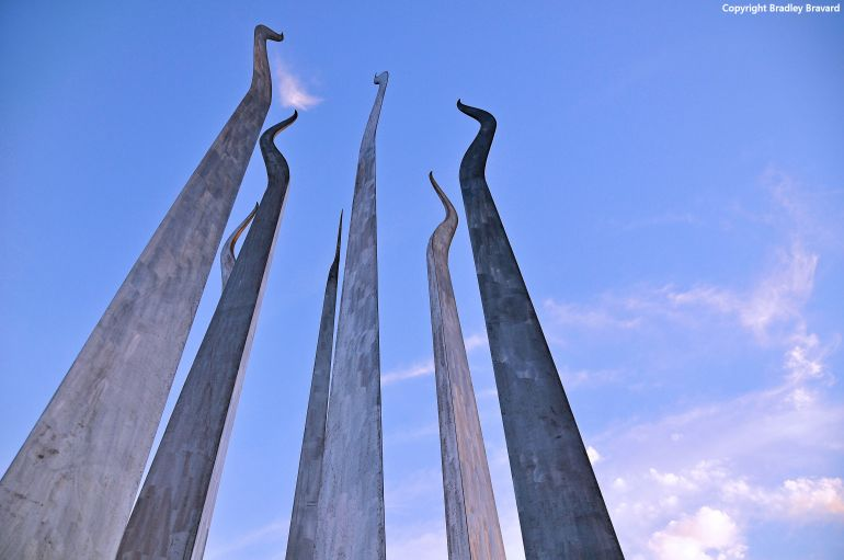 "Detail of ""Sticks of Fire"" sculpture on University of Tampa campus in Tampa, Florida"