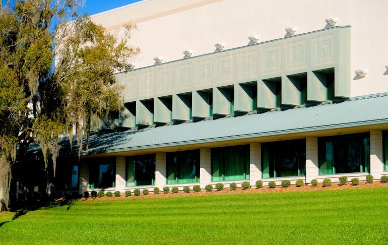 Detail of one side of building on Florida Southern College campus