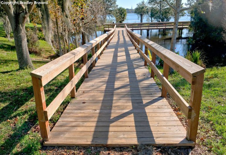 Photo of wood foot bridge over a lake