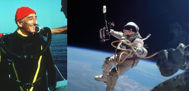 Two photographs, with ocean explorer Jacques Cousteau on the left, and a Gemini astronaut in earth orbit during a spacewalk on the right