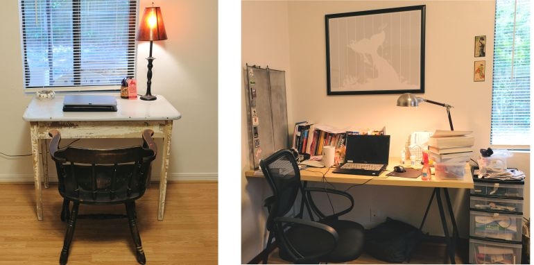 Photographs of two desks, one cluttered (right) and one uncluttered (left)