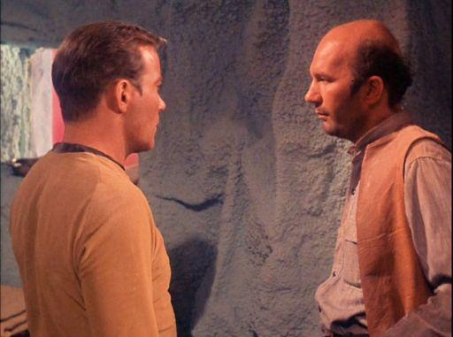Screenshot of Kirk and Childress from Star Trek episode Mudd's Women