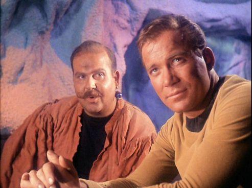 Screenshot of Mudd (left) and Kirk (right) from Star Trek episode Mudd's Women