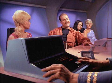 Screenshot of Mudd's trial from Star Trek episode Mudd's Women
