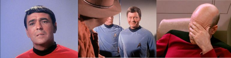 Star Trek screen shots showing, from left to right, Mr. Scott from the original series, Dr. McCoy from the original series, and Captain Picard from The Next Generation