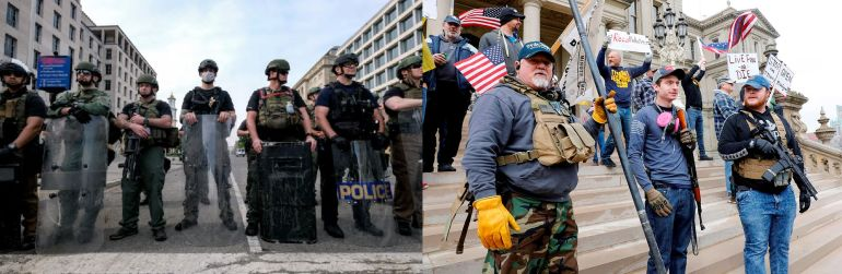 Photo of heavily armed law enforcement personnel on left and heavily armed civilian protestors on right