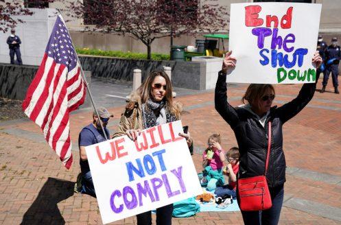 Demonstrators protest coronavirus lockdown measures in Richmond, Virginia