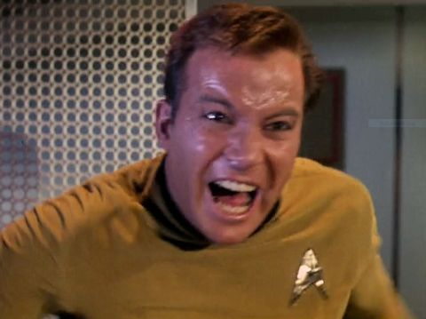 "Screenshot from Star Trek episode ""The Enemy Within"" showing angry Kirk yelling"
