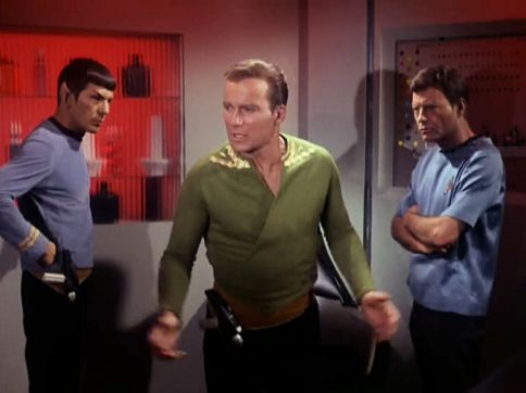 "Screenshot from Star Trek episode ""The Enemy Within"" showing Spock, Kirk, and McCoy"