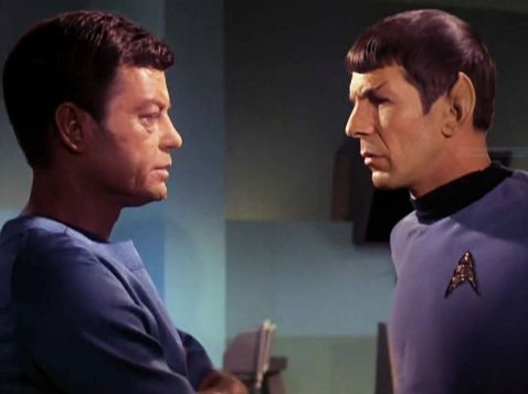 "Screenshot from Star Trek episode ""The Enemy Within"" showing McCoy and Spock"