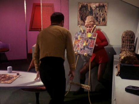 "Screenshot from Star Trek episode ""The Enemy Within"" showing Kirk attacking Rand"