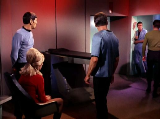"Screenshot from Star Trek episode ""The Enemy Within"" with Spock, Rand, McCoy, Kirk, and eyewitness crew member"