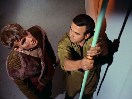 Image from Star Trek episode Charlie X showing Charlie with unidentified crewman