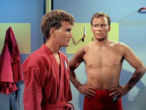 Image from Star Trek episode Charlie X showing, left to right, Charlie and Kirk