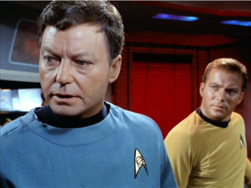 Image from Star Trek episode Dagger of the Mind showing McCoy and Kirk on the bridge