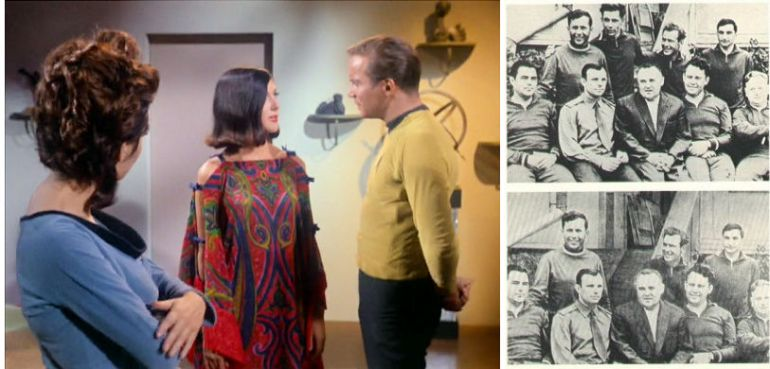 Left: Image from Star Trek episode Dagger of the Mind showing Noel, Lethe, and Kirk; Right: Before and after image of Soviet cosmonauts showing removal of Valentin Bondarenko after his death