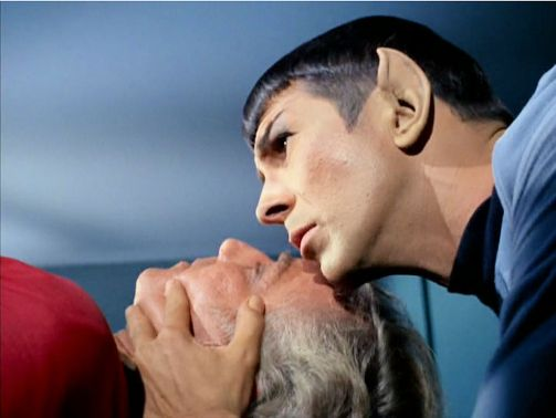 Image from Star Trek episode Dagger of the Mind showing Van Gelder and Spock