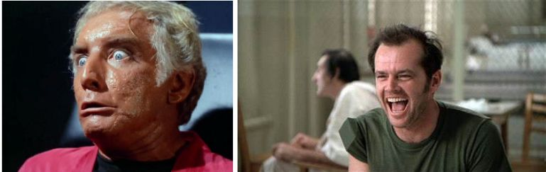 Image from Star Trek episode Dagger of the Mind showing closeup of Van Gelder, and image from movie One Flew Over the Cuckoo's Nest showing Jack Nicholson's McMurphy