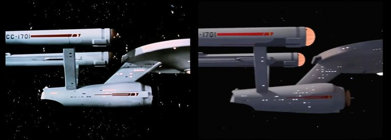 Images of the USS Enterprise from Star Trek episode The Man Trap showing original version on left and remastered version on right