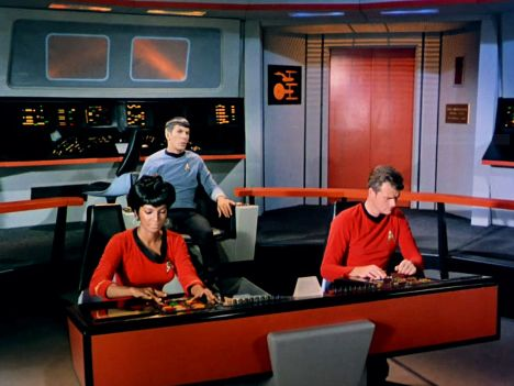 Image from Star Trek episode The Man Trap showing (left to right) Uhuru, Spock, and unknown officer on bridge