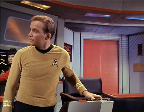 Image from Star Trek episode The Man Trap showing Kirk on Enterprise bridge