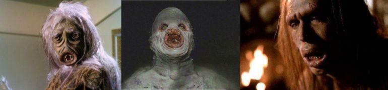 Left to right: Image of salt vampire from Star Trek episode The Man Trap, image of flukeman from The X-Files, image of the soul eater from The X-Files