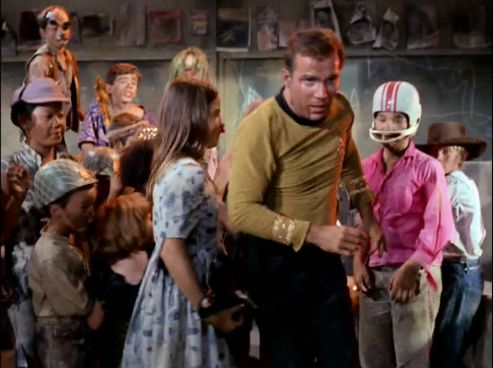 Image from Star Trek episode Miri showing group of kids attacking Kirk