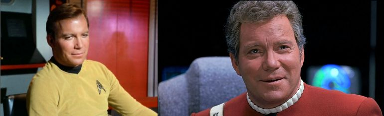 Image of Kirk from Star Trek episode Miri next to image of Kirk from Star Trek VI: The Undiscovered Country