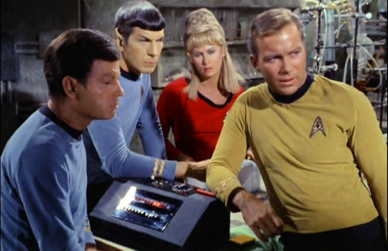 Image from Star Trek episode Miri showing McCoy, Spock, Rand, and Kirk