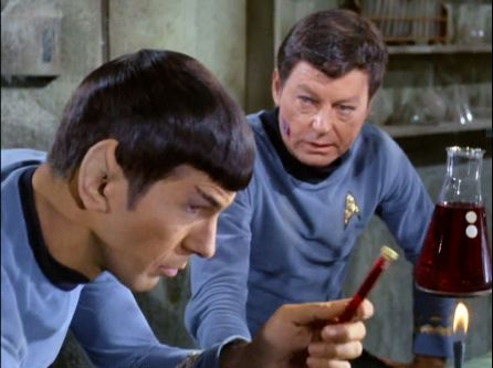 Image from Star Trek episode Miri showing Spock and McCoy
