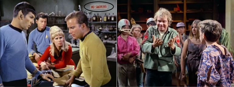 Images from Star Trek episode Miri, one showing Spock, McCoy, Rand, and Kirk in lab with No Smoking sign; another with a group of children