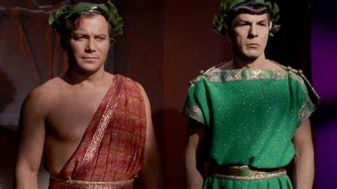 Image of Kirk and Spock in Roman costumes from Star Trek TV series