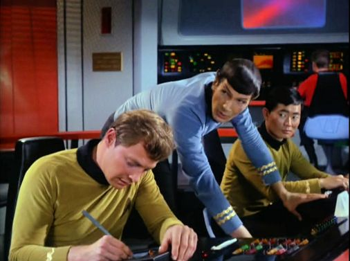 Image from Star Trek episode The Corbomite Maneuver showing, left to right, Bailey, Spock and Sulu, on Enterprise bridge