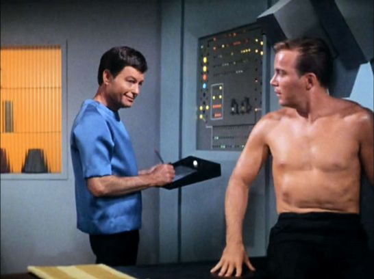 Image from Star Trek episode The Corbomite Maneuver with McCoy and Kirk in sickbay