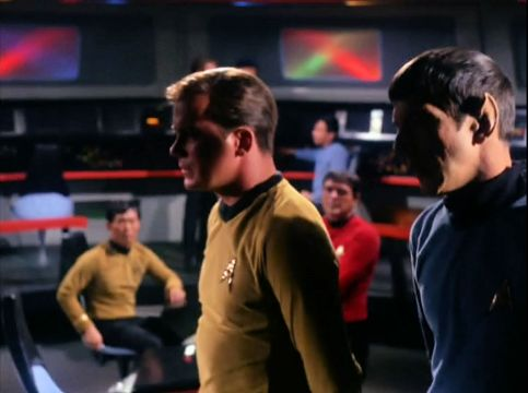 Image from Star Trek episode The Corbomite Maneuver showing Kirk and Spock on Enterprise bridge