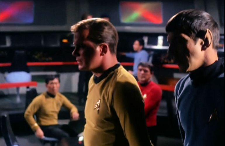 Image from Star Trek episode The Corbomite Maneuver showing Kirk and Spock on Enterprise bridge