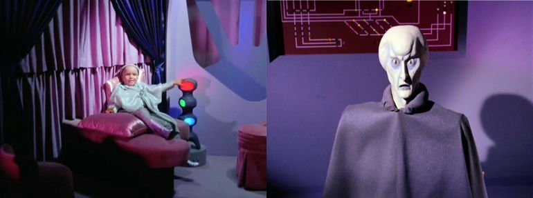 Images from Star Trek episode The Corbomite Maneuver showing Balok on left, Balok's fake alter-ego on right