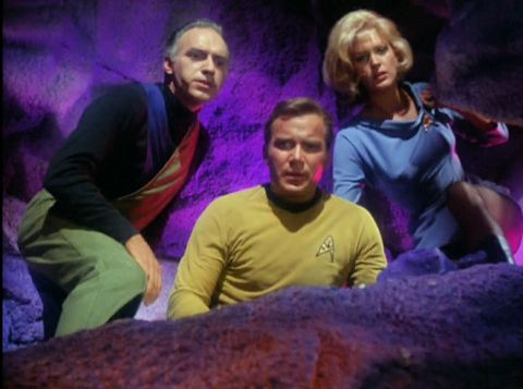 Image from Star Trek episode What Are Little Girls Made Of showing Brown, Kirk, and Chapel in cave