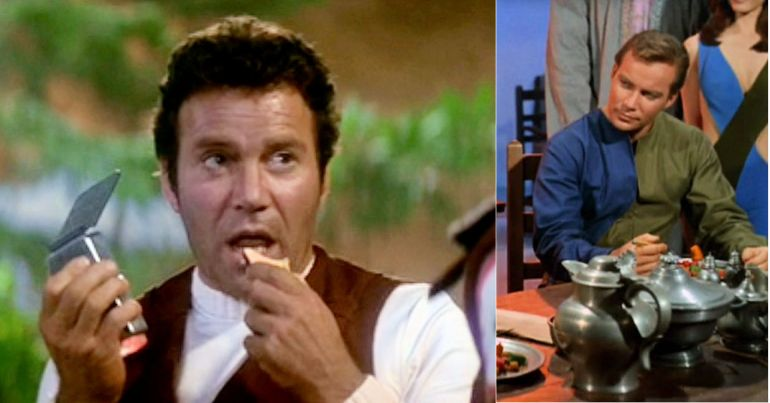 Left: Image from Star Trek II: The Wrath of Khan showing Kirk eating apple, Right: Image from Star Trek episode What Are Little Girls Made Of showing Kirk eating lunch